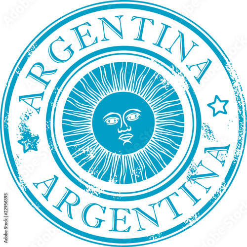 Vector  Grunge rubber stamp with the sun symbol  ArgentinaArgentina Symbol