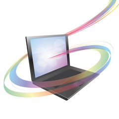 Vector Laptop with colorful abstract swirl