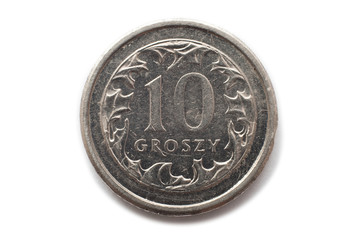 Macro close-up of polish 10 groszy coin