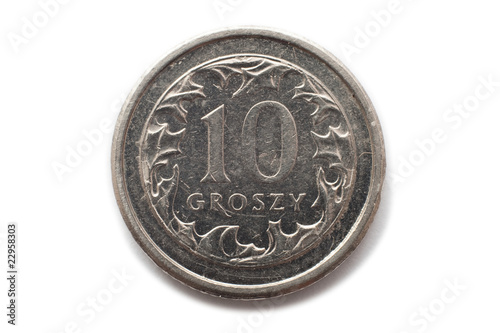 Macro close-up of polish 10 groszy coin