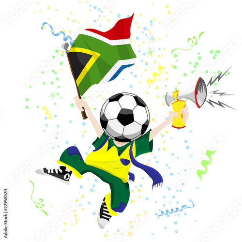 South Africa Soccer Fan with Ball Head.