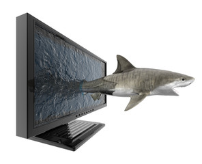 shark spring out of monitor