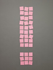 Exclamtion Mark made of Adhesive Notes