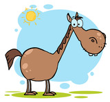 Fototapety Brown Horse With A Long Neck In The Sunshine