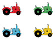 Digital Collage Of Red, Green, Blue And Yellow Farm Tractors