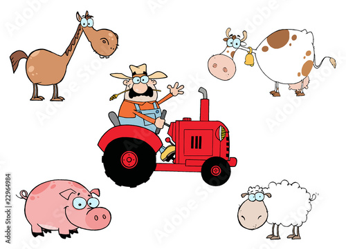 Caucasian Farmer On A Tractor, With A Horse, Cow, Pig And Sheep