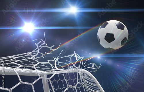 shot on goal, soccer ball tears the net