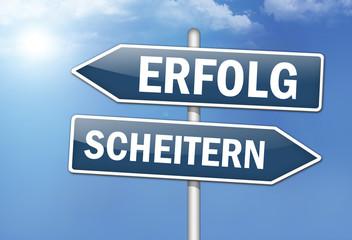 """Wegweiser-Schilde """"Erfolg vs. Scheitern"""""""