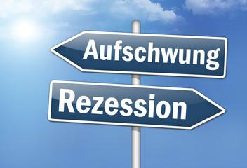 """Wegweiser-Schilde """"Aufschwung vs. Rezession"""""""