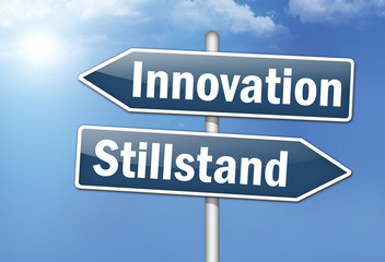 "Wegweiser-Schilde ""Innovation vs. Stillstand"""