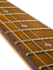 guitar neck with strings. Close up on white background