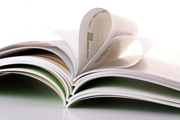 stack of magazines on the white background