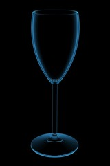 Wine Glass 3D X-Ray Blue Transparent