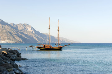 Wooden sailing boat, Kardamena, Kos, Greece