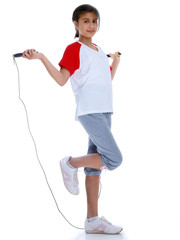 young girl with jump rope