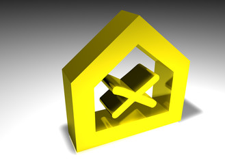 Haus - house - Symbol - crossed