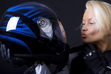 Blonde kissing helmet