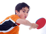 Fototapety young boy playing table tennis isolated on white background
