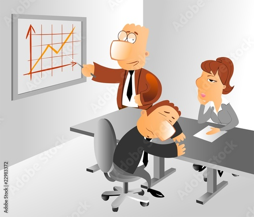 businessman doing a dull presentation