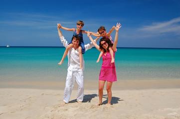 Happy family on beach vacation