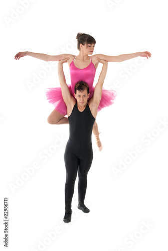 Young couple dancing ballet isolated on white background.