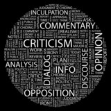 CRITICISM. Word collage on black background. poster