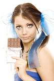 pigtails girl with chocolate enjoy isolated poster