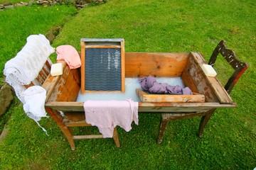 washtub and washboard
