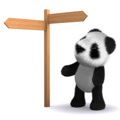3d Teddy reads the signpost