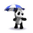 3d Panda under umbrella