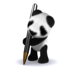 3d Panda teddy writes with his pen