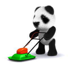 3d Panda teddy with his mower