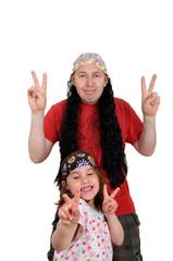 Hippievater mit Tochter