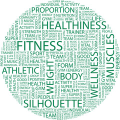 FITNESS. Word collage on white background.