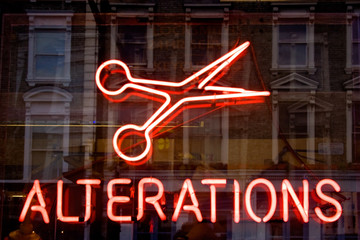 Scissors & alteration neon sign