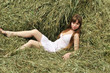 woman relaxing on the hayloft