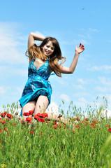 jump in poppy field