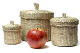 Three wattled baskets and apple isolated