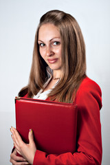 Smiling beauty lady closed red holding red folder