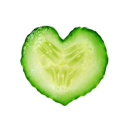 heart from slice of cucumber isolated