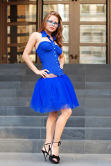 nice sexy woman in blue fashion dress