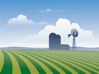Farm With Windmill