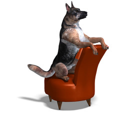 German Shepherd Dog. 3D rendering with clipping path and shadow