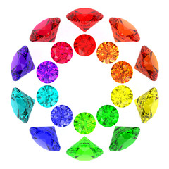 Gemstones kaleidoscope of rainbow colours