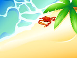 Tropical beach with ocean waves, palm and crab
