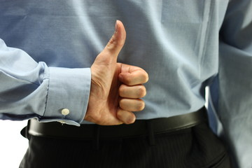 Business man finger sign