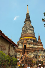 group of very old Buddha stupas in old city of Thailand
