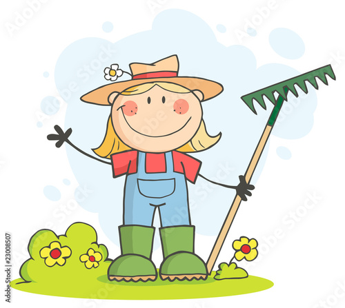 cartoon girl farmer. Caucasian Farmer Girl Waving
