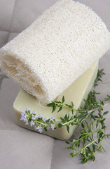 Natural lufah sponge wlth thyme soap