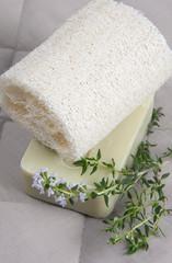 Natural lufah sponge wlth thyme soap